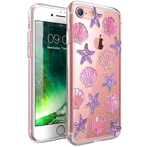 ZUSLAB Funda iPhone 8, Funda iPhone 7 Carcase Protectora híbrida, Funda Dura Transparente con patrón de Concha de mar, Anti Choque Funda para Apple iPhone 8/7 [IMD Claro]