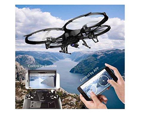 Drone U818A WiFi FPV - Dron con cámara HD 720P | Dron con cámara inteligente Quadcoptere con batería de larga duración de vuelo Drone para principiantes, gafas 3D de regalo