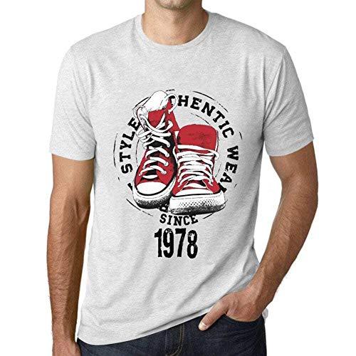 One in the City Hombre Camiseta Vintage T-Shirt Gráfico Authentic Style Since 1978 Cumpleaños de 42 años Blanco Moteado