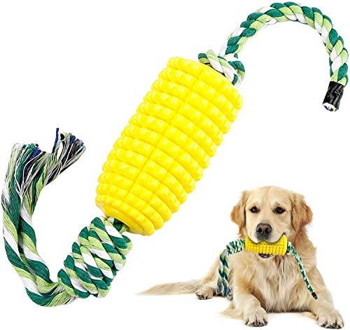 WR WPAIER Hundezahnbürste Hundespielzeug Kauspielzeug Mais Hundezahnpflege Zahnbürste Zahnpflege Zahnreiniger mit Seil für Hunde aus Naturkautschuk
