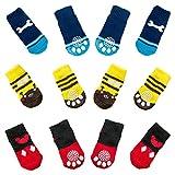 N\O Miystn Calcetines Antideslizantes para Perros, Calcetines para Perros, Protector Patas Perro, Ajuste para Perros Extra Pequeños a Grandes (12 Piezas, Rojo, Amarillo y Azul)