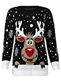 FK Styles - Cavalier reindeeer Rudolph Imprimer flocon de neige de noël - Femmes, Noir - Noir, EUR 44-46 UK XL
