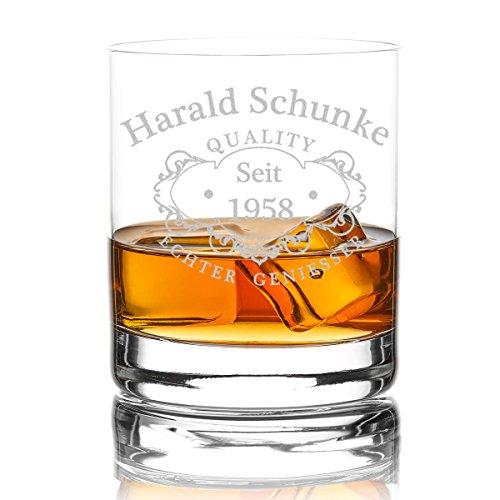 polar-effekt Whiskyglas Personalisiert 320 ml Trink-Glas für Whiskey, Rum und Scotch - Geschenk-Idee für Männer - Motiv-Gravur Quality Whisky