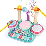 Fajiabao Multifunction Toddler Drum Set with Light Baby Piano Musical Instruments for Children Montessori Learning Toys Electronic Keyboard Microphone Xylophone for Kids Boy Girl Birthday Gifts