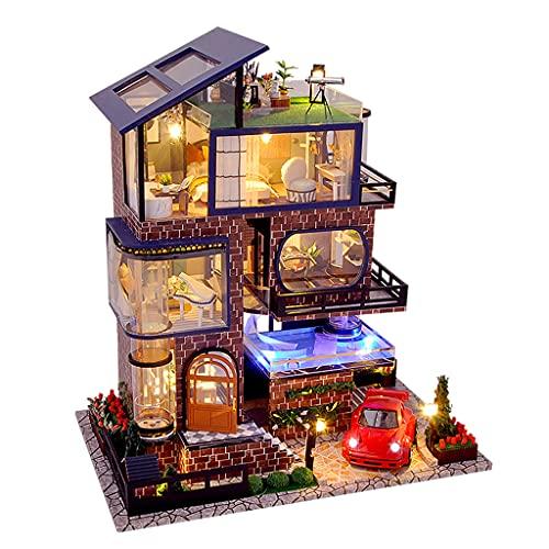 perfeclan DIY Mini casa de muñecas, Kit de Muebles de Madera, Casa Grande Hecha a Mano con luz LED para ensamblar Regalos de cumpleaños para niños y niñas