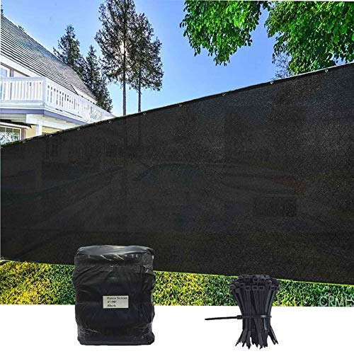 EVERGROW 4' x 50' Black Fence Privacy Screen Windscreen Cover Outdoor Patio Fabric Shade Tarp Netting Mesh Cloth 150 GSM 5 Years Warranty Free Zip Ties 4 feet x 50 feet Black