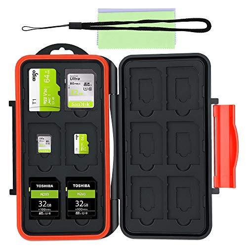 Astuccio Porta Schede di Memoria, Resistente all'Acqua Porta Schede di Memoria Protettivo Antiurto: 24 Slots per 12 SDHC/SDXC Card e per 12 Micro SD Card + 2 Tessuto Super-Fibra(Colore Casuale)