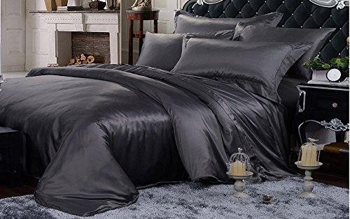 Parure de lit 4 pièces en soie sans couture 22 mm pour lit Super King Anthracite