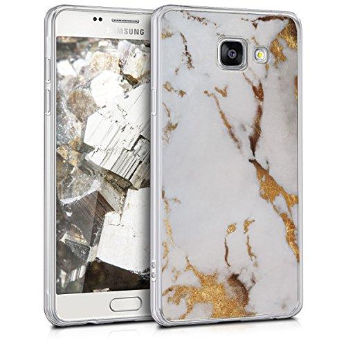 kwmobile Funda Compatible con Samsung Galaxy A5 (2016) - Carcasa de TPU y mármol clásico en Blanco/Dorado