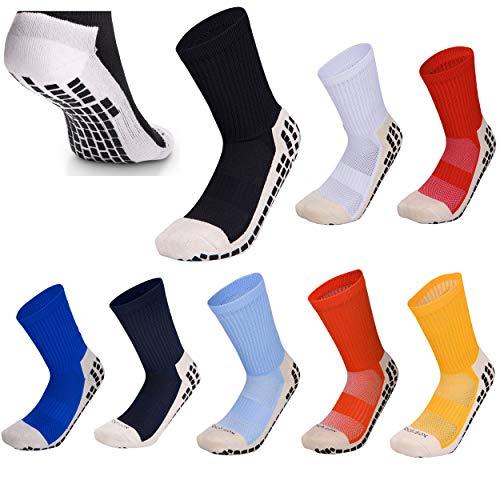 Calcetines de fútbol Antideslizantes de Baja Pantorrilla con Almohadillas de Goma para fútbol, Baloncesto, Caminar, Correr para Adaptarse al tamaño del Reino Unido 5.5 a 11 Blanco