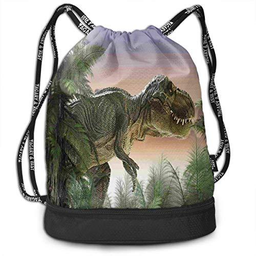 werert Dinosaur in The Jungle Trees Forest Yoga Drawstring Bag Gym Bag Sport Bag for Men Women