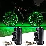 KaiDengZhe Luces para Rueda de Bicicleta Luz LED de Bicicleta Súper Brillante Luz de Radios para Bicicleta para Máxima Seguridad y Estilo con Baterías Incluidas (Paquete de 2, Verde)