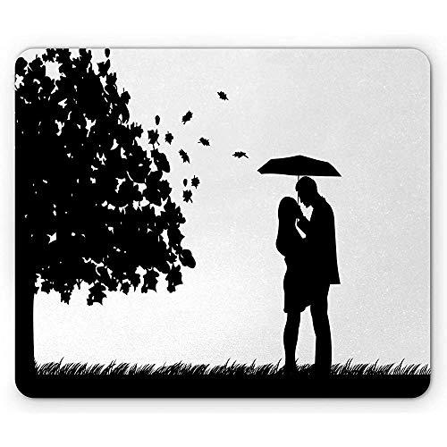 Regenschirm Mädchen Mausunterlage,Schattenbild Art Entwurfs romantisches Paar in fallenden Blättern der Herbst Natur,rutschfestes GummiMousepad des Rechtecks,Standardgröße,Schwarzweiss 30X25CM