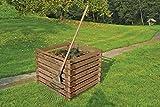 Gartenwelt Riegelsberger Holzkomposter XXL 120x120xH70 cm Kiefer braun kesseldruckimprägniert mit Holz-Stecksystem Komposter Komposte Steckkomposter Kompostsilo