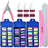 Colorful Fake Acylic Nail Tips Kit, 300PCS (3Boxes) Coffin Colored False Nails Set with nail Glue,Ballerina Professional Nail Art Set, Full Cover Stiletto Fake Nails, Nail Clipper, Nail Buffer