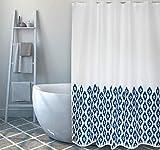 """Cotexsa by MSV Premium Anti-Schimmel Textil Duschvorhang - Anti-Bakteriell, waschbar, 100prozent wasserdicht, mit 12 Duschvorhangringen - Polyester, """"Ikat"""" Blau Weiß 180x200cm – Made in Spain"""