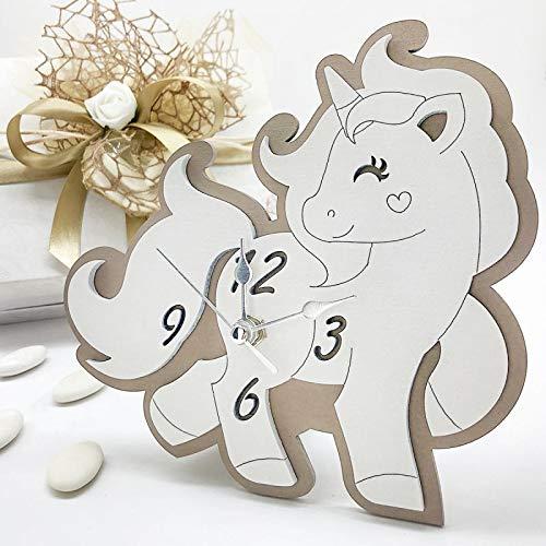 Ingrosso e Risparmio Reloj con forma de unicornio de madera blanca y pardo con manecillas plateadas, detalles originales para bautizo, comunión, con caja de regalo (con caja de color crema)