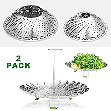 """Godmorn Steamer Basket Stainless Steel for Instant Pot and Pressure Cooker, Folding Steamer Insert for Veggie Fish Seafood Cooking, Expandable Collapsible, 5.1""""-9"""",6 -11"""