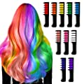Auriviz Hair Chalk for Girls Kids Temporary Bright Hair Chalk Comb Non-Toxic Washable Hair Color Dye for Kids of Age 4 5 6 7 8 9 Christmas Halloween Cosplay Party Birthday Gifts (10 Pack) from Auriviz