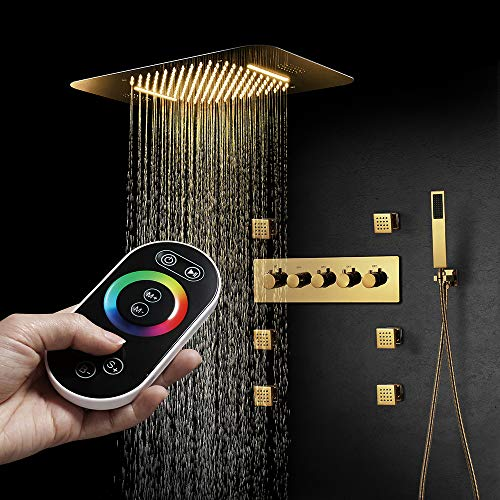 M Boenn Gold luxury Shower Systems Bathroom Faucets Rain Shower Set Music LED Shower Head Thermostatic Brass Concealed Mixer (Remote control)