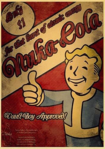 xiangpiaopiao Póster Retro De Nuka Cola Fallout 2345, Póster De Papel Vintage, Pintura De Pared, Decoración del Hogar, Arte De Pared 40X50Cm Lj-55
