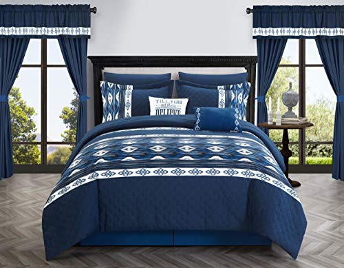Chic Home Safforn 20 Piece Comforter Set Color Block Geometric Ikat Embroidered Bag Bedding-Sheets Pillowcases Window Treatments Decorative Pillows Shams Included, Queen, Navy