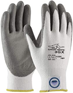 Protective Industrial Products Medium White And Gray Great White 3GX Light wei Dyneema Diamond Blend Cut Resistant Glv With Knit Wrist And Polyurethane Coated Palm And Fingertips (Pack Qty 5)-1 Pair