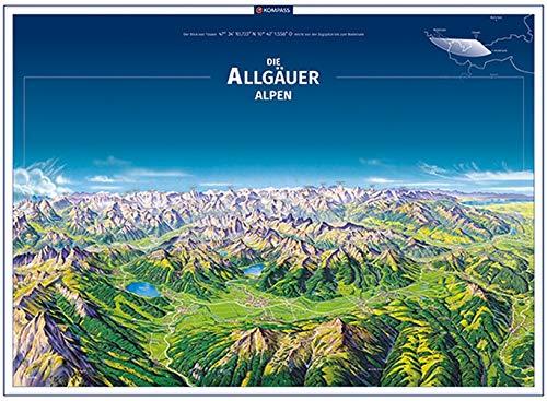 KOMPASS Panorama Die Allgäuer Alpen, Poster: Panorama-Poster 75 x 55 cm passend für Standardrahmen, handgezeichnet als hochwertiger Druck (KOMPASS-Panoramakarten, Band 372)