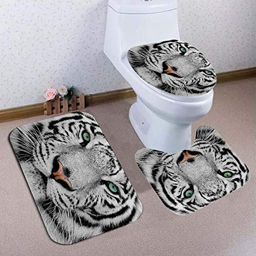 DHTOMC Bathroom Rug 4PCS White Tiger Animal Style Shower Curtain Bathroom Carpet Rug Toilet Cover Mats Decoration Black Non Slip Pedestal (Color : Black, Size : One size)
