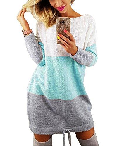 Minetom Damen Elegant Schulterfrei Langarm Lose PulloverKleid Strickkleid Sweater Oberteile Oversized Sweatshirt Tops Lang Blau DE 36