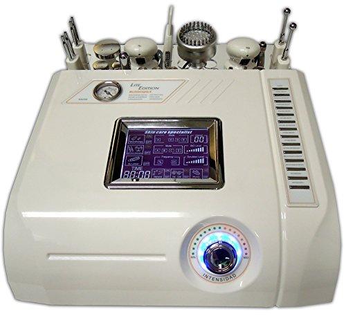 Aparato de belleza con 6 terapias: Mesoterapia virtual. Cromoterapia. Dermoabrasión. Peeling Ultrasónico. Electrolifting. Martillo de termoterapia y crioterapia