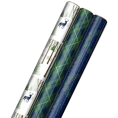 Hallmark Foil Holiday Wrapping Paper with Cut Lines on Reverse (3 Rolls: 60 sq. ft. ttl) Woodland Scene with Deer, Green and Navy Blue Plaid, Wreaths on Navy Blue