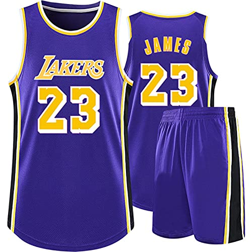 WAIY Lèbrón Jāmes # 23 Los Angeles Lakers Set De Camiseta De Baloncesto, Camiseta De Baloncesto para Hombre Tejido Elástico Profesional No Se Desvanece Limpieza Repetible Purple A-3XS