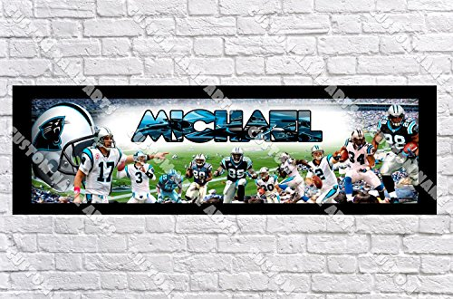 Personalized NC Carolina Panthers Banner - Includes Color Border Mat, with Your Name On It, Party Door Poster, Room Art Decoration - Customize