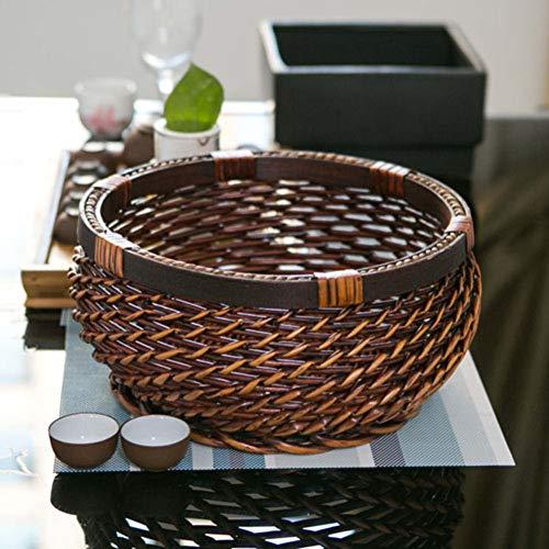 VIVOCTray Poly-Wicker Fruit Basket Bread Serving Bowl Snack Durable Handmade Round Key Snacks Candy Dish Food Food Storage Bowl Kitchen Organizer-C 20x11cm(8x4inch)