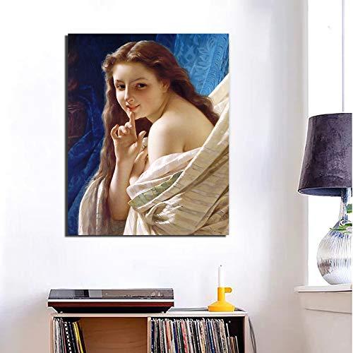 tzxdbh Geen lijst portret een jongen vrouw canvas schilderij afdrukken woonkamer Home Decor Moderne muurkunst olieverfschilderij poster 20X25 cm Geen frame.