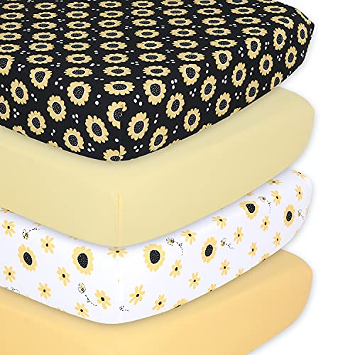 The Peanutshell Sunflower & Bee Fitted Crib Sheet Set for Boys or Girls, Unisex 4 Pack, Yellow & Black Floral