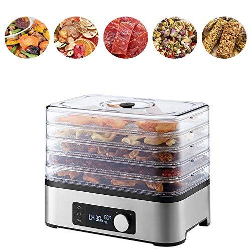 GSAGJsf Deshidratador de alimentos en niveles 5 niveles portable del hogar eléctrico de la fruta y de verduras Deshidratador máquina 30 ℃ ~ 70 ℃ Snack-espasmódicos Máquina con temporizador de cuenta r