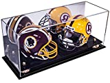 Better Display Cases 2 Mini Football Helmet (not Full Size) Display Case with Mirror and Gold Risers (A019-GR)