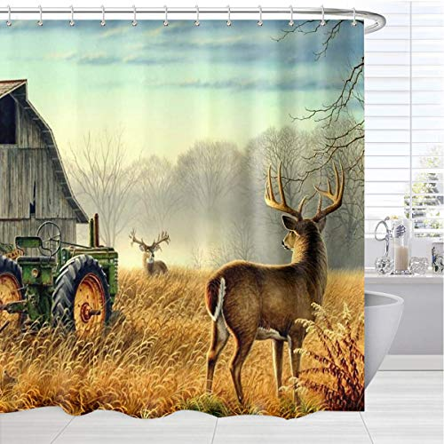 BROSHAN Country Shower Curtains, Autumn American Western Wooden Barn Tractor Animals Deer Curtain for Shower Decor, Farmhouse Waterproof Fabric Bathroom Accessories Set with Hooks