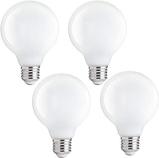 FLSNT G80 Globe LED Light Bulbs, E27 Base, 4000K Cool White, Non-Dimmabe, 4 Watts, Retro Decorative for Vanity Mirror, Bed...