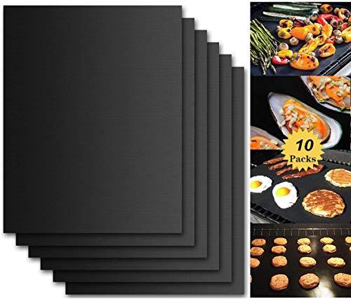 UmeBiz Barbecue Tapis (Lot de 10), Imarku de qualité et réutilisables Tapis de tapis Barbecue Teflon anti-adhésif 0,2 mm épaisseur 40 x 33 cm, Idéal pour barbecue et plaque de cuisson anti adhésive