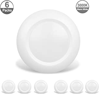 JULLISON 6 Packs 4 Inch LED Low Profile Recessed & Surface Mount Disk Light, Round, 10W, 600 Lumens, 3000K Warm White, CRI80, DOB Design, Dimmable, Energy Star, ETL Listed, White …