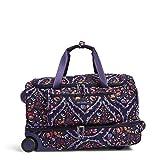 Vera Bradley Women's Duffle Luggage Lighten Up Foldable Duffel Rolling Suitcase, Foxwood Meadow, One Size