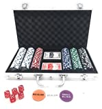 LANSH 300 Piece Poker Set with Aluminum Carrying Case, 11.5g Dual Toned Poker Chips, 5 Dice, 2 Decks of Playing Cards with Blinds and Dealer Button