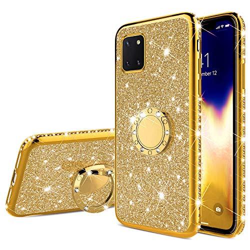 Kompatibel mit Samsung Galaxy Note 10 Lite Hülle Glitzer Glänzend Kristall Strass Diamant Handyhülle mit Ring Ständer Ultra Dünn Überzug Weiches TPU Silikon Stoßfest Schutzhülle Case,Gold