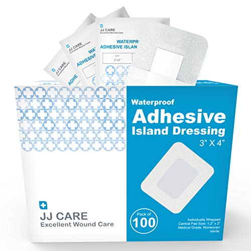 """JJ CARE [Pack of 100] Waterproof Adhesive Island Dressing 3"""" x 4"""", Sterile Wound Dressing, Breathable Bordered Gauze Pads, Latex Free Bandages, Individually Wrapped, Central Pad Size 1.2'x2'"""