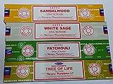 Set di 4 bastoncini di incenso Satya con albero della vita, patchouli, legno di sandalo, salvia bianca di Sterling Effectz