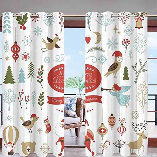 Hiiiman - Cortinas opacas con ojales en la parte superior, una colección de diferentes Navidades para puerta delantera, porche, césped, pasillo, patio o puerta