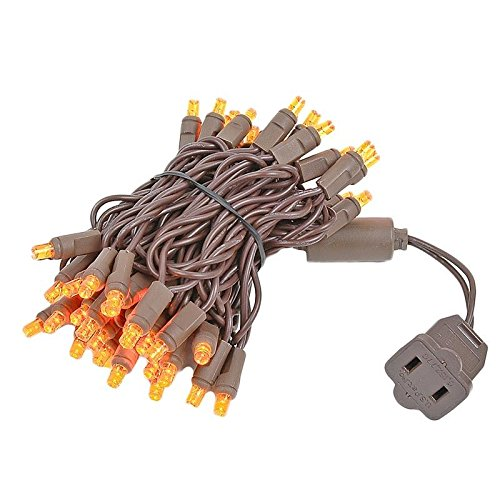 Novelty Lights 50 Light LED Christmas Mini Light Set, Outdoor Lighting Party Patio String Lights, Amber, Brown Wire, 11 Feet